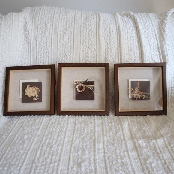 Vintage Other - A set of 3 Boho framed wall art